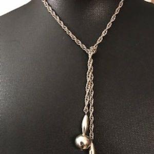 Vintage Silver Tie Necklace